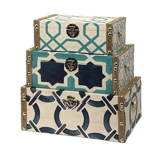Set of 3 Nautical Inspired Geometric Patterned Decorative Trunk Style Boxes