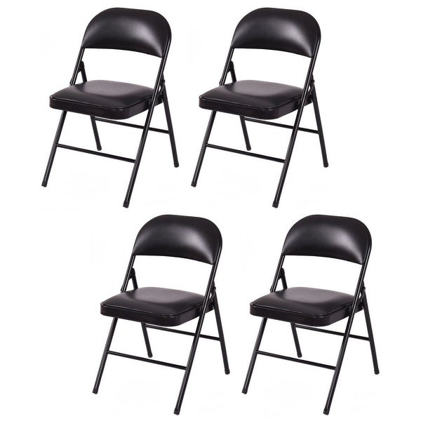 Costway Set of 4 Folding Chairs Upholstered Padded Seat Metal Frame Home Office Black