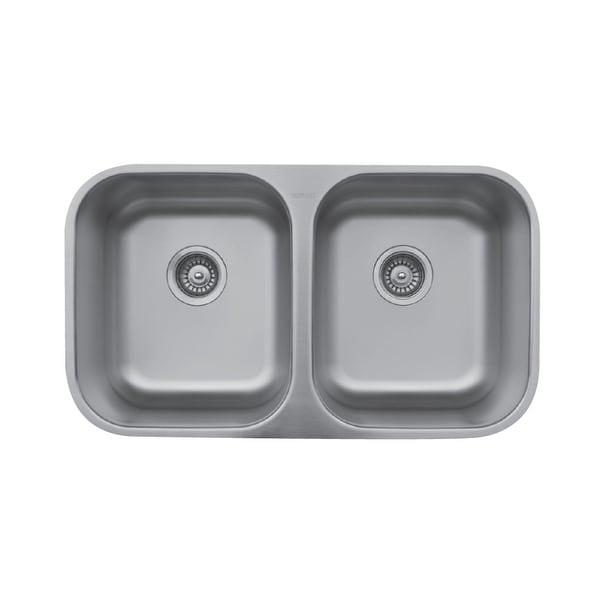 Karran Undermount Stainless Steel 32 in. 50/50 Double Bowl Sink. Opens flyout.