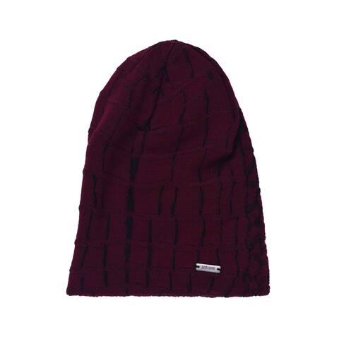 Just Cavalli Men's Red Black Animal Print Wool Winter Hat RTL$1100