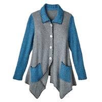Women's Cardigan - Storm Sky Boucle Blue Gray Button Down Sweater