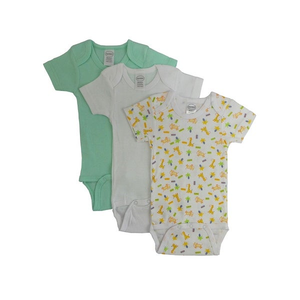 Baby Boy's Green And Yellow Rib Knit Short Sleeve Onesie