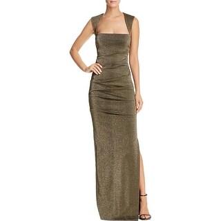 Nicole Miller Womens Felicity Evening Dress Metallic Pleated