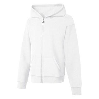Hanes ComfortSoft EcoSmart Girls' Full-Zip Hoodie Sweatshirt - M