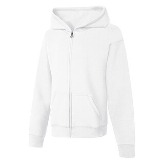 Hanes ComfortSoft EcoSmart® Girls' Full-Zip Hoodie Sweatshirt - Size - M - Color - White