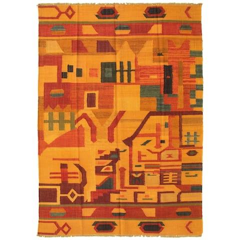 Flat-weave Sundance Brown Wool Kilim