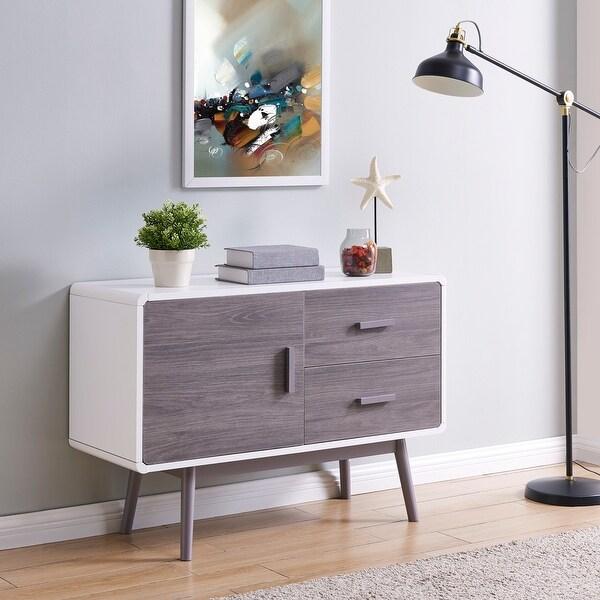 BELLEZE White/Grey-finish Wood Retro Style Sideboard Buffet Table Storage Media