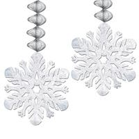 Club Pack of 24 Metallic Silver Snowflake Foil Christmas Dangler Hanging Party Decorations 30""