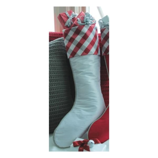 """19"""" Country Cabin White Christmas Stocking with Red and Gray Tartan Plaid Cuff"""