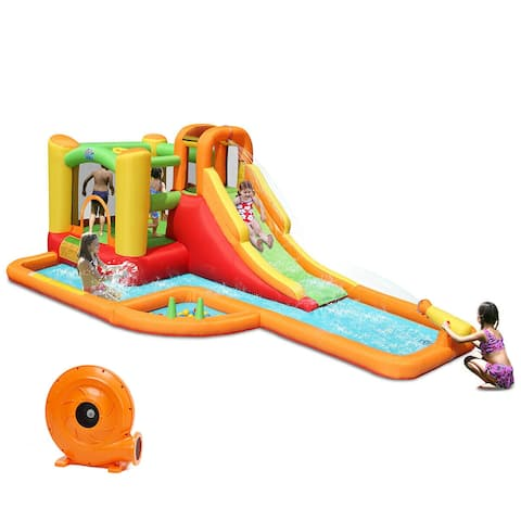 Gymax Inflatable Splash Water Park Bounce House Jump Slide Bouncer Kids w/ 780W Blower - as pic