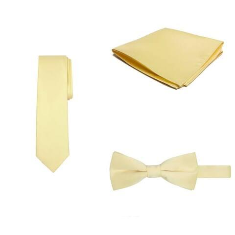 Jacob Alexander Regular Necktie Bowtie Pocket Square Matching 3 pc Set - One Size