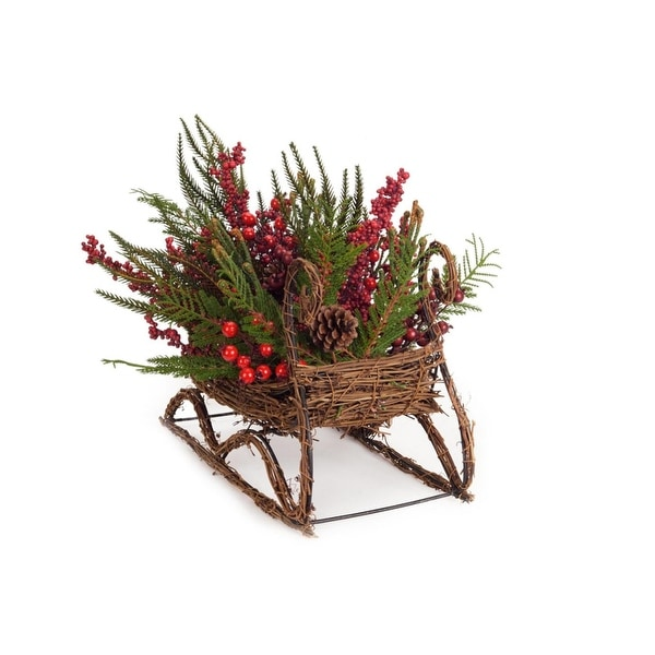 "17"" Mixed Pine and Red Berry Wicker Sleigh Christmas Table Top Decoration"