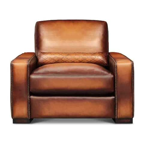 Urban Cowboy Deluxe Top Grain Artisan Leather Modern Chair and a Half