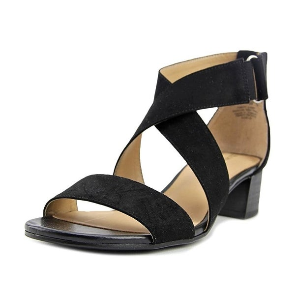 Naturalizer Womens Adele Fabric Open Toe Casual Ankle Strap, Black, Size 9.0