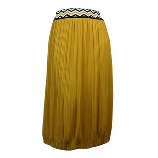 NY Collection Women's Chevron-Waist Pleated Chiffon Skirt