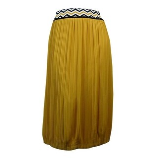 NY Collection Women's Chevron-Waist Pleated Chiffon Skirt - gold spice (3 options available)