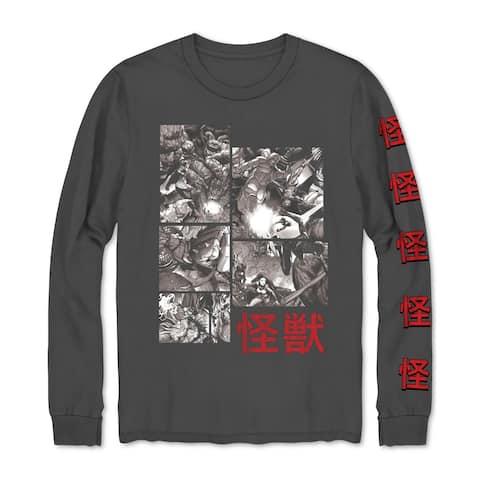 Marvel Mens T-Shirt Gray Size Large L Avengers Kaiju Long Sleeve Crew Tee 063