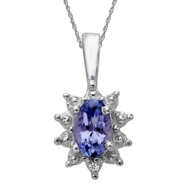 3/8 ct Natural Tanzanite Pendant with Diamond in Sterling Silver - Blue