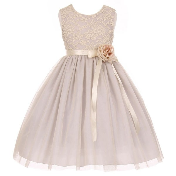 Shop Little Girls Silver Lace Satin Sash Corsage Tulle Flower Girl Dress  2-6 - Free Shipping On Orders Over  45 - Overstock - 18162646 2ab14b003