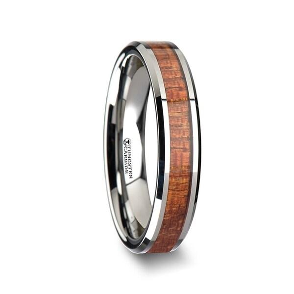 Khaya Tungsten Band With Polished Bevels And Exotic Mahogany Hard Wood Inlay 4mm