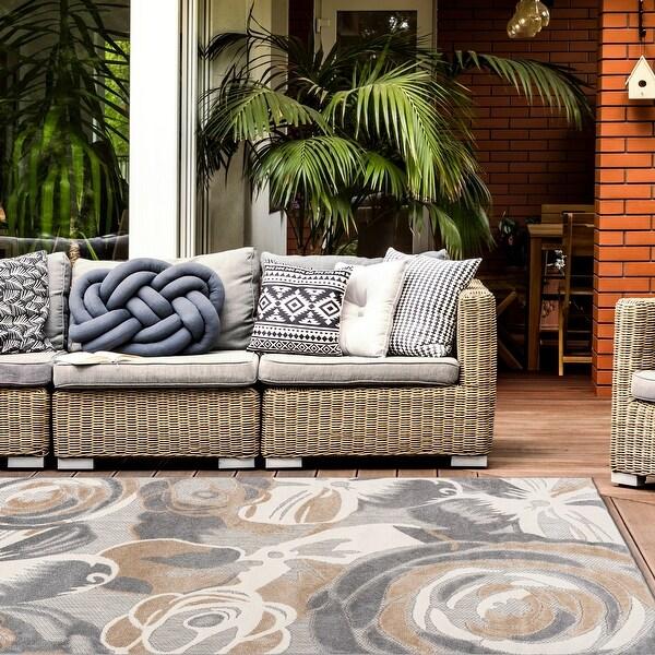 Modern Large Floral Flowers Indoor/Outdoor Area Rug