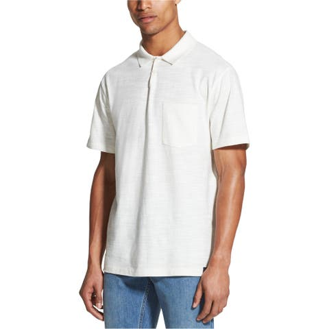 DKNY Mens SS Rugby Polo Shirt, Off-white, Large