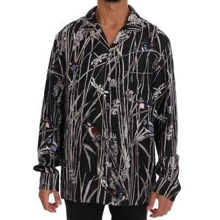 Dolce & Gabbana Dolce & Gabbana Black Bird Print Pajama Shirt - M