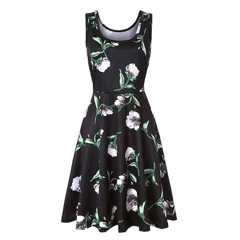 Women's Summer Sleeveless Slim Flared Dress Casual Floral, Ldbh10, Size XX-Large - Ldbh10