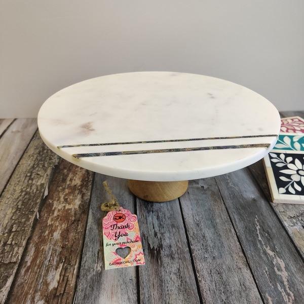 """GAURI KOHLI Pärlemor Marble Cake Stand (12""""). Opens flyout."""