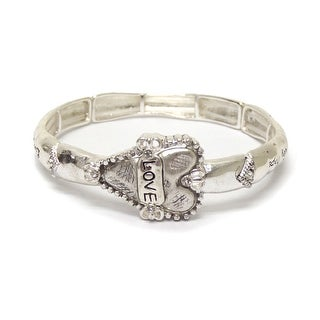 Metal textured heart message bracelet for Valentine's Day
