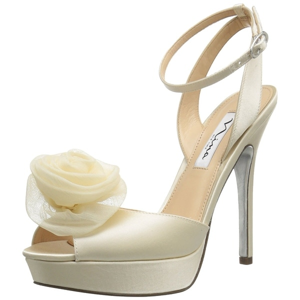 Nina NEW White Ivory Makara-YS Shoes Size 8.5M Open Toe Heels