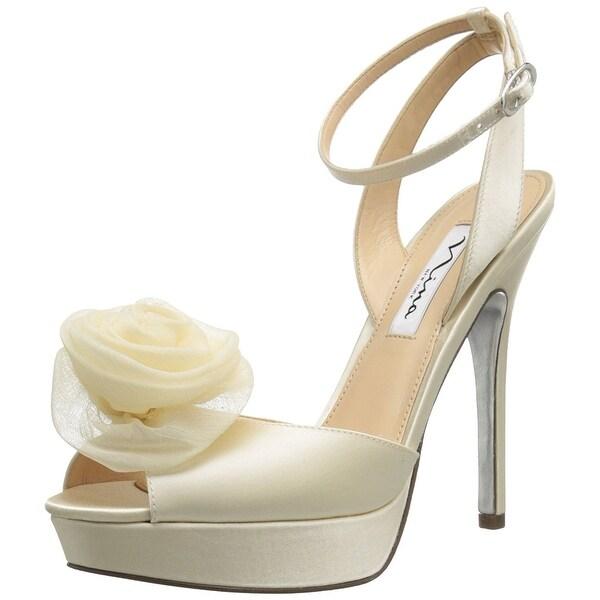 Nina NEW White Ivory Makara-YS Shoes Size 9.5M Open Toe Heels
