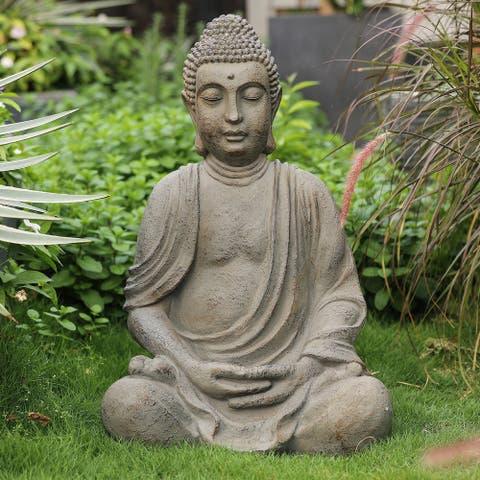 Gray MgO Meditating Buddha Garden Statue