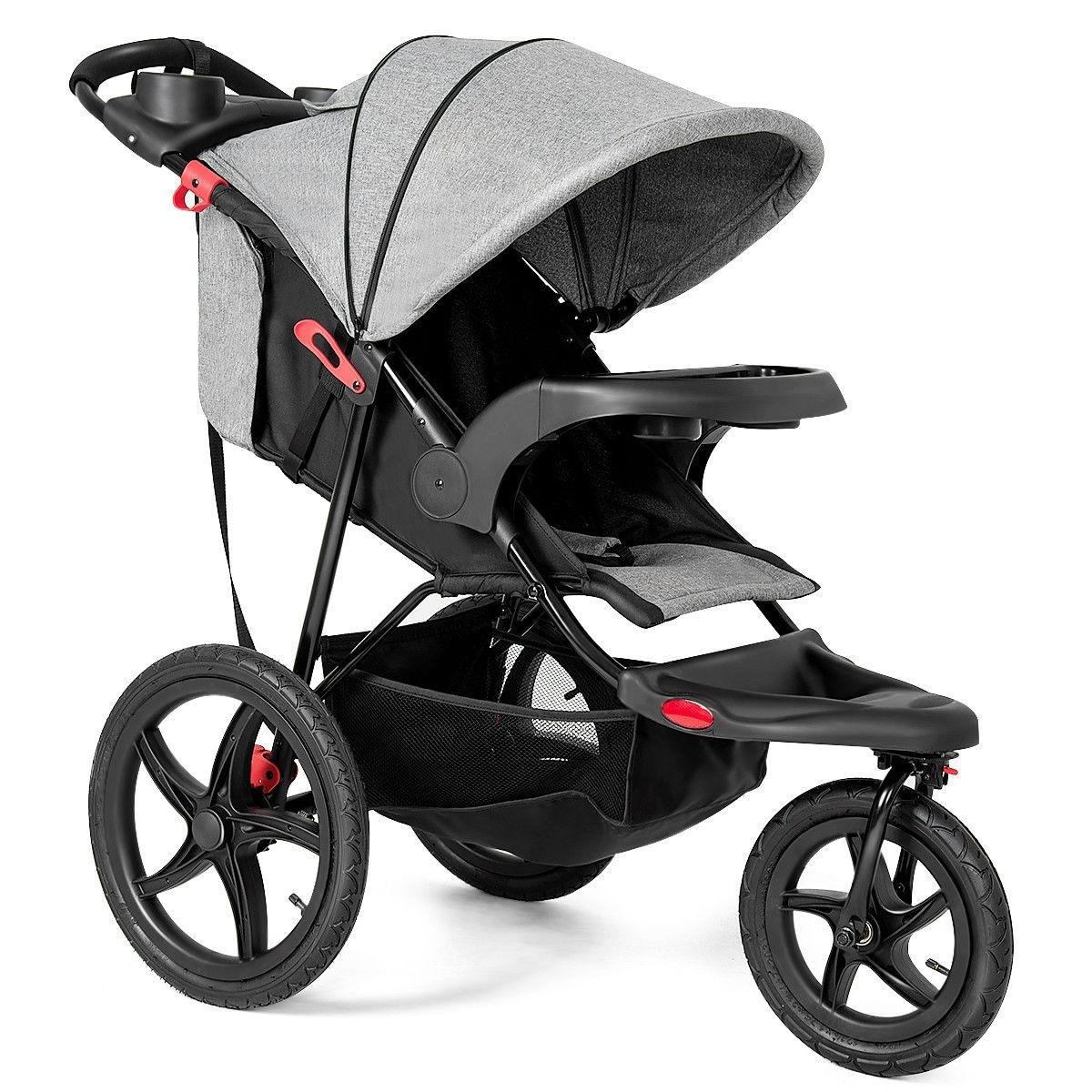 Reclining Seat with Adjustable Handlebar and Storage Basket 3-Wheel Baby Travel Stroller BABY JOY Jogger Stroller