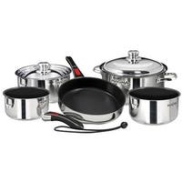 Magma Nesting 10-Piece Induction Compatible Cookware - SS Exterior & Slate Black Ceramica Non-Stick Interior