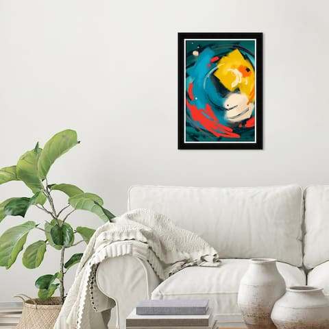 Wynwood Studio 'Deep Ocean Surprise' Abstract Wall Art Framed Print Paint - Green, Blue