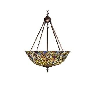"Meyda Tiffany 111082 24"" W Tiffany Fishscale Inverted Pendant"