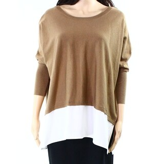 Style & Co. NEW Brown Women Medium M Satin Colorblock Pullover Sweater