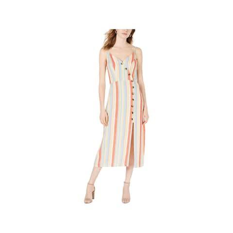 Speechless Womens Casual Dress Striped Sleeveless - Orange/Yellow - M
