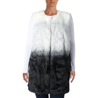 Vince Camuto Womens Plus Modern Edge Faux Fur Ombre Outerwear Vest