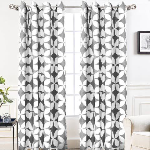 DriftAway Amelia Geo Thermal Insulated Blackout Window Curtain Panel Pair