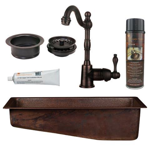 Premier Copper Products BSP4_BRECSL28DB3-G Bar Sink, Faucet and Garbage Disposal Drain Package