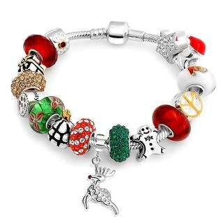 Bling Jewelry Sterling Silver Christmas Glass CZ Enamel Bead Charm Snake Chain Bracelet