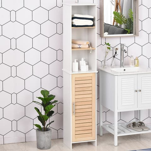 Kleankin Organizer Bathroom Tall Storage Cabinet w/ Door Tower Cupboard Open Shelves Freestanding Furniture - 10.25*14.25*68.25