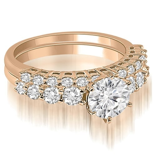 1.40 cttw. 14K Rose Gold Round Cut Diamond Bridal Set