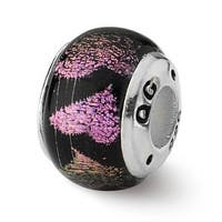 Sterling Silver Reflections Pink/Purple Hearts Dichroic Glass Bead (4mm Diameter Hole)