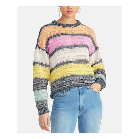 RACHEL ROY Womens Pink Striped Long Sleeve Crew Neck Sweater Size XL