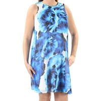 CALVIN KLEIN Womens Blue Floral Sleeveless Jewel Neck Above The Knee Dress  Size: 8