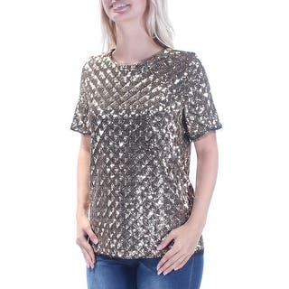 38f2a2c621 BAR III Womens Gold Sequined Short Sleeve Jewel Neck Party Top Size: S
