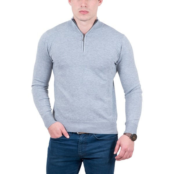 Real Cashmere Light Grey Half Zip Fine Cashmere Blend Mens Sweater